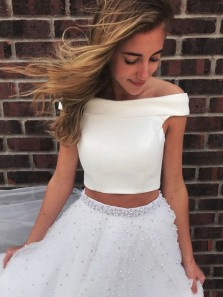 Cute A Line Two Piece Off the Shoulder White Tulle Long Prom Dresses with Beading, Pretty Quinceanera Dresses, Graduation Dresses