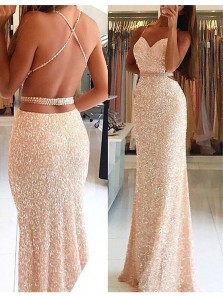 Charming Mermaid Sweetheart Backless Champagne Sequins Long Prom Dresses, Long Formal Evening Dresses PD0805008