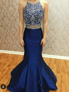 Gorgeous Mermaid Two Piece Round Neck Royal Blue Long Prom Dresses with Beading, Elegant Evening Dresses