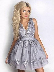 Cute A Line V Neck Backless Lace Grey Short Homecoming Dresses, Formal Short Prom Dresses