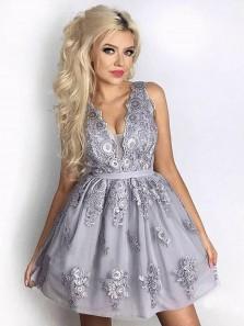 Cute A Line V Neck Backless Lace Grey Short Homecoming Dresses, Formal Short Prom Dresses
