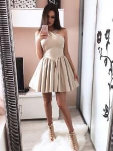 Cute A Line Halter Backless Champagne Satin Short Homecoming Dresses, Formal Short Prom Dresses