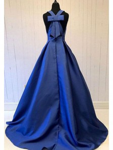 Charming Ball Gown V Neck Royal Blue Long Prom Dresses with Pocket, Formal Evening Dresses with Bow