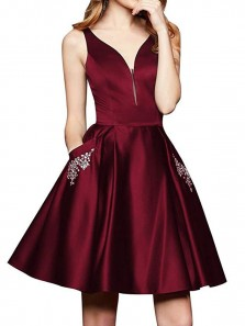 Cute A Line V Neck Open Back Satin Burgundy Beaded Short Homecoming Dresses with Pockets, Formal Evening Dresses