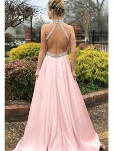 Elegant A Line Halter Backless Pink Satin Beaded Long Prom Dresses, Formal Evening Dresses