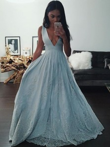 Charming A Line V Neck Open Back Beaded Light Blue Long Prom Dresses with Lace, Formal Evening Dresses