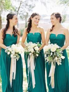 Elegant A Line Sweetheart Chiffon Green Long Bridesmaid Dresses Under 100