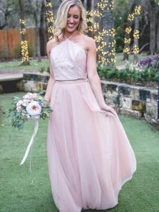 Charming A Line Halter Open Back Pink Lace Long Bridesmaid Dresses