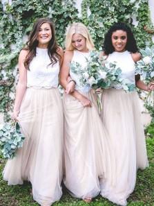 Elegant A Line Two Piece Round Neck White Lace Long Bridesmaid Dresses BD0806003