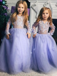 Cute A Line Round Neck Lavender Tulle Long Flower Girl Dresses with Appliques