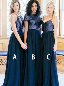 Two Piece Navy Chiffon And Sequins Long Bridesmaid Dresses Under 100 BD0806004