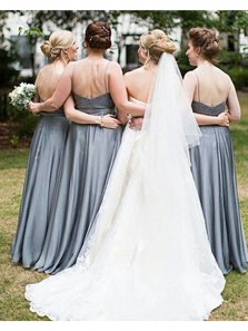 Elegant Sheath Scoop Chiffon Grey Lace Long Bridesmaid Dresses Under 100 BD0806005