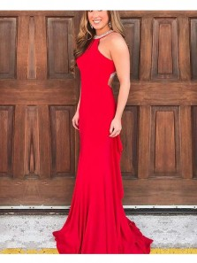 Charming Mermaid Halter Backless Elastic Satin Red Long Prom Dresses with Beading, Formal Evening Dresses PD0806002