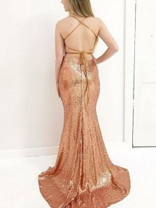 Charming Mermaid V Neck Backless Sequins Gold Long Prom Dresses, Formal Evening Dresses