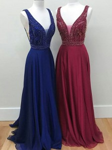 Gorgeous A Line V Neck Backless Navy Chiffon Long Prom Dresses with Beading, Formal Evening Dresses