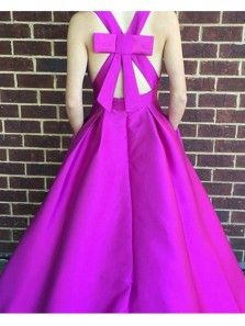 Gorgeous A Line V Neck Cross Back Fuchsia Satin Long Prom Dresses with Pockets, Formal Evening Dresses with Bow
