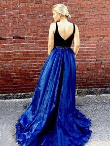 Elegant A Line V Neck Open Back Black and Royal Blue Organza Slit Long Prom Dresses with Beading