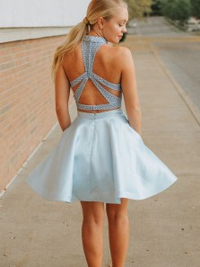 Cute A Line Two Piece Halter Cross Back Satin Light Blue Short Homecoming Dresses with Beading, Formal Evening Dresses HD0807001
