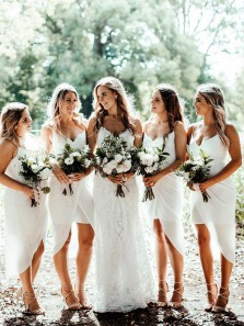 Elegant Sheath Sweetheart Spaghetti Straps White Short Bridesmaid Dresses Under 100 BD0807001