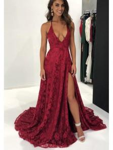 Elegant A Line V Neck Backless Burgundy Lace Long Prom Dresses with Train, Formal Evening Dresses