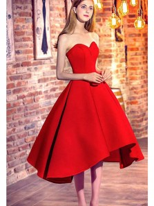 Cute A Line Sweetheart Satin Red Tea Length Homecoming Dresses with Pockets, Long Prom Dresses