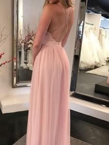 Charming A Line V Neck Backless Chiffon Slit Pink Long Prom Dresses, Simple Evening Dresses Under 100 PD0807005