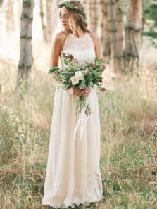 Simple A Line Round Neck Chiffon Champagne Long Wedding Dresses Under 100