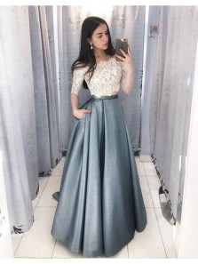 Elegant A Line Two Piece Off the Shoulder Long Sleeves Lace Champagne Grey Satin Long Prom Dresses, Formal Evening Dresses PD0807006