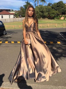 Charming A Line V Neck Spaghetti Straps Satin Coppery Satin Long Prom Dresses with Pockets, Formal Evening Dresses