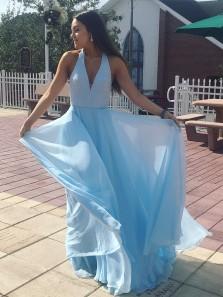 Charming A Line V Neck Halter Backless Chiffon Blue Long Prom Dresses with Sparkly Sequins, Elegant Evening Dresses PD0807008