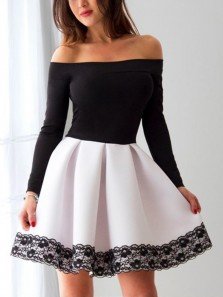 Elegant A Line Off the Shoulder Black and White Long Sleeve Elastic Satin Short Homecoming Dresses with Lace, Short Prom Dresses HD0807004