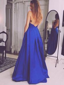 Charming Ball Gown V Neck Backless Royal Blue Royal Blue Long Prom Dresses with Pockets, Elegant Evening Dresses