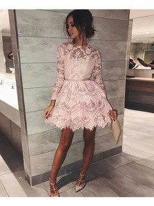 Elegant A Line Round Neck Long Sleeves Blush Lace Short Prom Dresses, Formal Evening Dresses