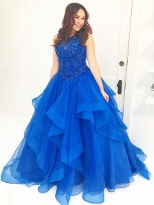 Elegant Ball Gown Round Neck Royal Blue Organza Beaded Long Prom Dresses, Quinceanera Dresses