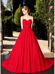 Gorgeous Ball Gown Sweetheart Spaghetti Straps Lace and Satin Red Long Prom Dresses, Formal Evening Dresses