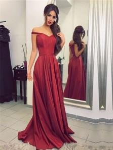 Charming A Line Sweetheart Open Back Burgundy Satin Long Prom Dresses, Formal Evening Dresses