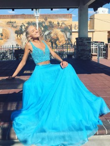 Charming A Line Two piece V Neck Open Back Blue Tulle Long Prom Dresses with Beading, Formal Evening Dresses