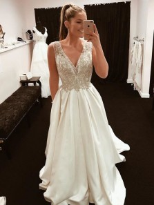 Gorgeous A Line Open Back Ivory Satin Long Prom Dresses with Beading, Formal Evening Dresses PD0807016
