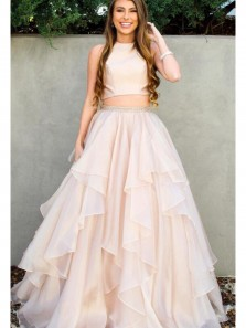Elegant A Line Two Piece Open Back Champagne Chiffon Long Prom Dresses with Beading, Quinceanera Dresses