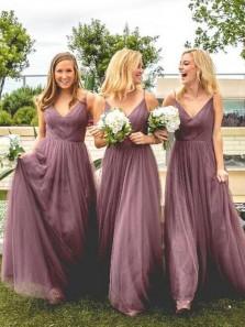 Elegant A Line V Neck Spaghetti Straps Tulle Grape Long Bridesmaid Dresses Under 100 BD0808001