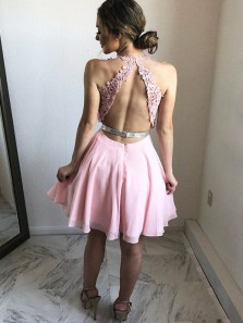 Cute A Line V Neck Halter Open Back Chiffon Pink Beaded Short Homecoming Dresses with Appliques, Formal Short Prom Dresses