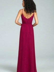 Elegant Sheath V Neck Chiffon & Lace Dark Red Long Bridesmaid Dresses BD0808002