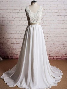 Charming A Line V Neck Open Back Lace and Chiffon White Long Wedding Dresses with Train, Beach Wedding Dresses
