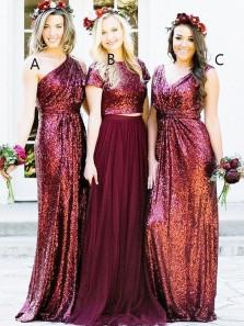 Elegant Sheath One Shoulder Burgundy Sequins Long Bridesmaid Dresses BD0808004