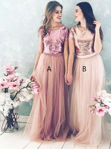 Elegant A Line Round Neck Blush Sequins Long Bridesmaid Dresses BD0808004