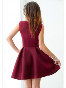 Cute A Line V Neck Elastic Satin Burgundy Short Homecoming Dresses with Pockets, Short Prom Dresses Under 100 HD0808002