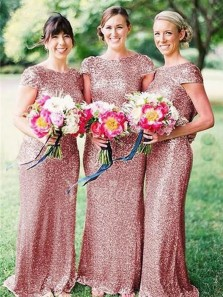 Charming Mermaid Scoop Cap Sleeves Blush Sequins Long Bridesmaid Dresses BD0808005