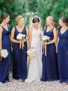 Elegant Sheath V Neck Open Back Navy Lace Long Bridesmaid Dresses BD0808005