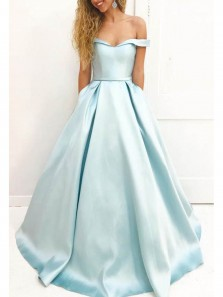 Charming Ball Gown Sweetheart Satin Light Blue Long Prom Dresses With Pockets