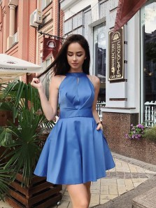 Cute A Line Halter Open Back Satin Blue Short Homecoming Dresses with Pockets, Formal Short Prom Dresses Under 100
